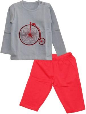 My Little Lambs Baby Boy's Solid Grey Top & Pyjama Set