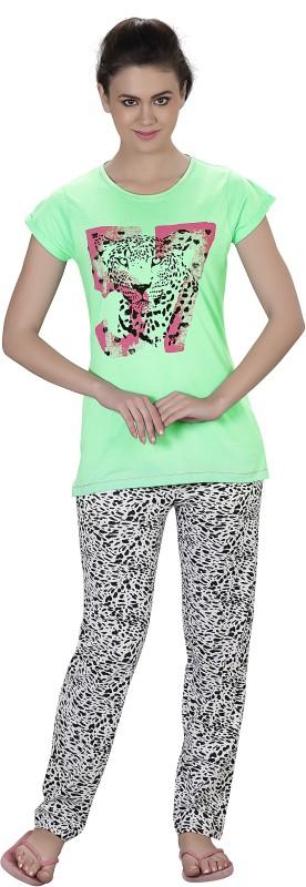 Lazy Dazy Women's Printed Light Green, White Top & Pyjama Set