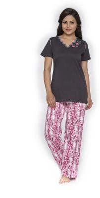 Melodie Women's Embroidered Brown, Pink Top & Pyjama Set