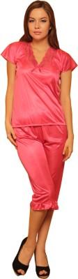 Cloe Women,s Solid Pink Top & Capri Set