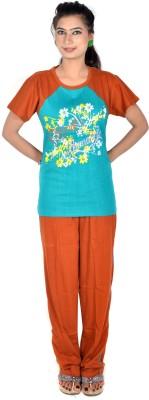 Rosabela Women's Printed Brown Top & Pyjama Set
