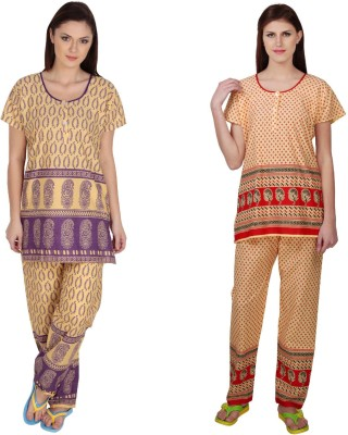 Simrit Women's Printed Purple, Red Top & Pyjama Set
