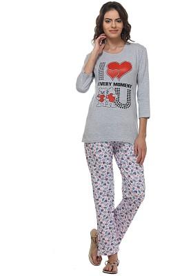 WAKO Women's Printed Multicolor Top & Pyjama Set