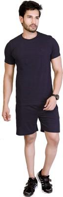 LUCfashion Men's Self Design Black, Black Top & Shorts Set