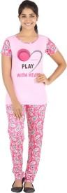 Meril Women's Printed Pink Top & Pyjama Set