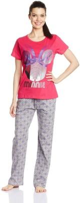 Disney by July Comfy Cotton Designer Two Piece Women's Printed Pink, Grey Top & Pyjama Set