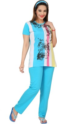 Div Women's Printed Light Blue Top & Pyjama Set
