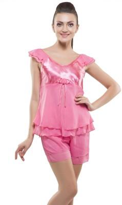 Kunchals With Nightwear Women's Self Design Pink Top & Shorts Set