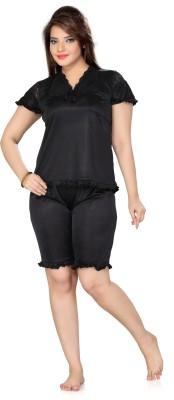 Ishin Women's Solid Black Top & Shorts Set
