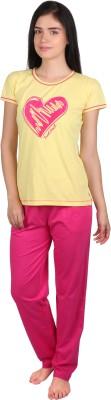 Lazy Dazy Women's Printed Yellow, Pink Top & Pyjama Set