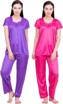 LeSuzaki Women's Solid Purple, Red Top & Pyjama Set