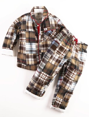 Cherry Crumble California Girl's Checkered Brown Top & Pyjama Set