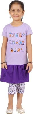 SPN Garments Girl,s Printed Purple Top & Capri Set
