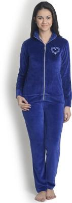 La Zoya Women's Solid Dark Blue Top & Pyjama Set