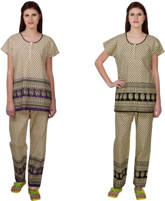 Simrit Women's Printed Purple, Black Top & Pyjama Set
