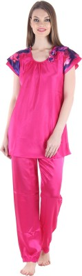 Private Lives Women's Solid Pink Top & Pyjama Set