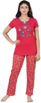 Sunwin Women's Printed Pink, Red Top & Pyjama Set