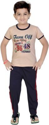 13 in Boy's Printed Beige Top & Pyjama Set