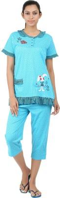 Informal Wear Women's Animal Print Light Blue Top & Pyjama Set