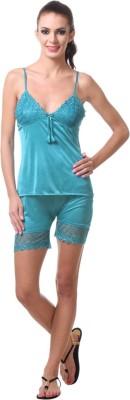 Affair Women's Solid Green Top & Shorts Set