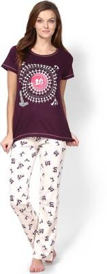 July Comfy Cotton Designer Two Piece Women's Printed Purple, White Top & Pyjama Set
