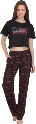 She N She Women's Printed Black Top & Pyjama Set