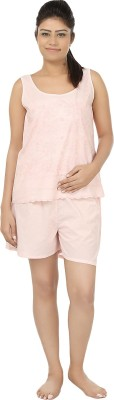 After Dark Women,s Embroidered Pink Top & Shorts Set