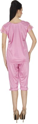 Ignis Women's Solid Pink Top & Capri Set