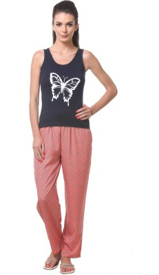 Tweens Women's Printed Orange Top & Pyjama Set