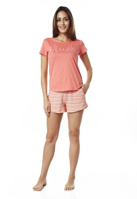 Mystere Paris Women's Striped Pink, White Top & Shorts Set