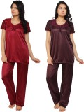 Krazy Katz Women's Solid Maroon, Brown T...
