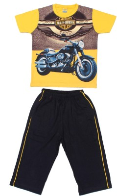 Romano Boy's Graphic Print Yellow T-shirt & Three-forth Set