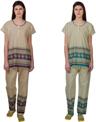 Simrit Women's Printed Purple, Blue Top & Pyjama Set