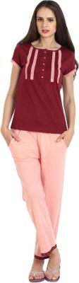 Slumber Jill Women's Solid Maroon, Pink Top & Pyjama Set