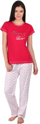 Lazy Dazy Women's Printed Red, White Top & Pyjama Set