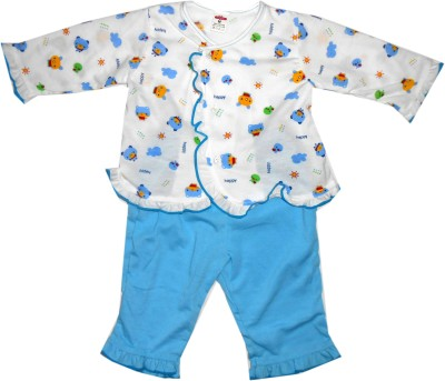NammaBaby Baby Girl's Animal Print Blue Top & Pyjama Set