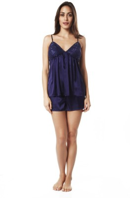 Mystere Paris Women's Solid Blue Top & Shorts Set