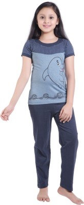 Red Ring Girls Printed Blue Top & Pyjama Set