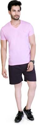 LUCfashion Men's Self Design Black, Pink Top & Shorts Set
