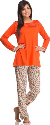 Private Lives Women's Solid Orange Top & Pyjama Set