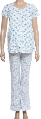 Uzazi Nursing Women's Floral Print Blue, White Top & Pyjama Set