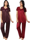 Krazy Katz Women's Solid Brown, Maroon T...