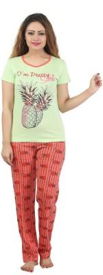 Sunwin Women's Printed Green, Red Top & Pyjama Set