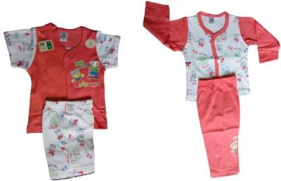 Little Hub Baby Boy's Printed Red, White Top, Pyjama & Shorts Set