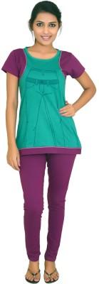 CKL Women's Solid Blue Top & Pyjama Set
