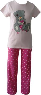 Sweet Dreams Girl's Graphic Print Pink Top & Pyjama Set