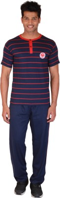 Right Shape 9026 Men's Striped Blue Top & Pyjama Set