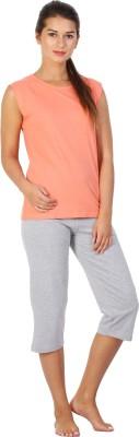 Click Hit Softle Top Payjama set Women's Solid Orange, Grey T-shirt & Three-forth Set