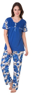 Masha Women's Printed Blue Top & Pyjama Set