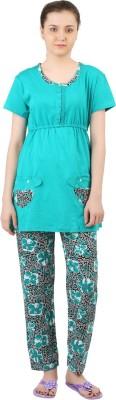 Informal Wear Women's Printed Green Top & Pyjama Set